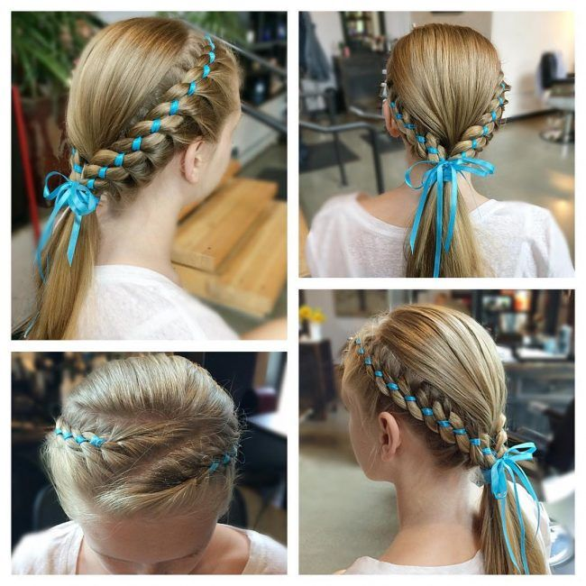 60 Lovely Hairstyles With Braids For Kids All Braiding Styles Hair Styles Ribbon Hairstyle Braided Hairstyles