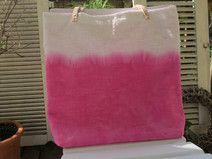 Shopper Strandtasche sehr groß Leinen Batik pink