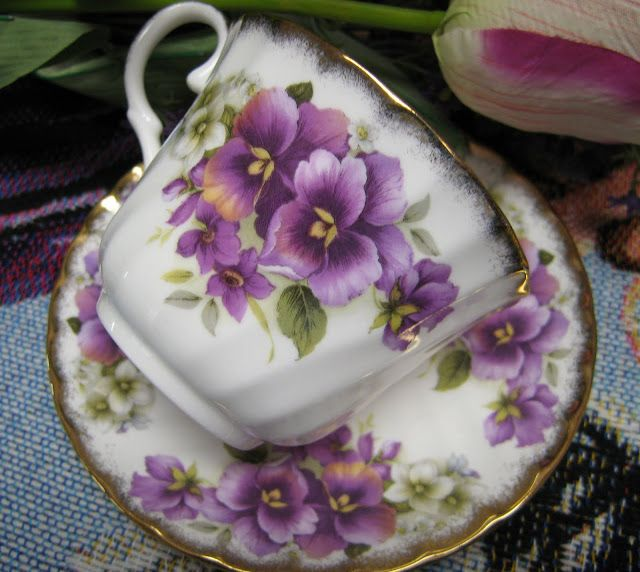 Pretty Pansy Teacup and Saucer<3