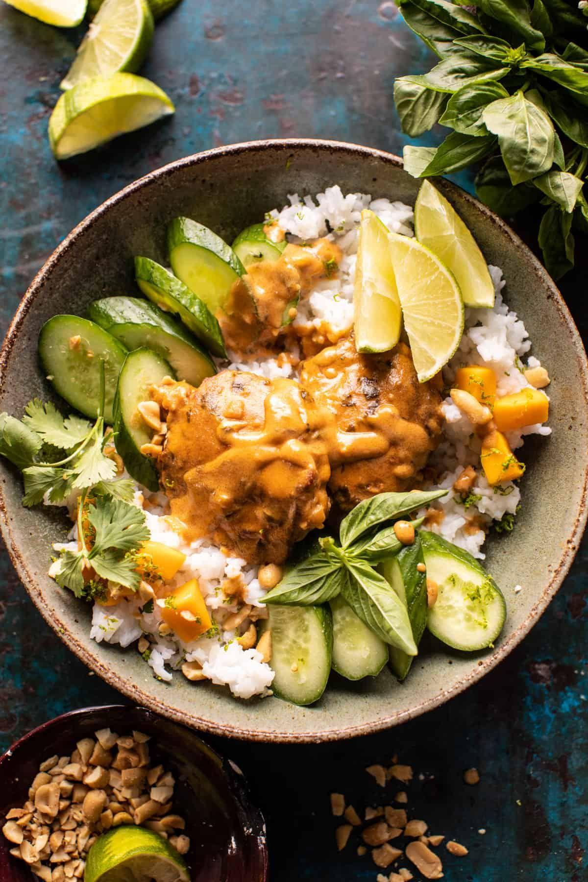 Weeknight Thai Peanut Chicken With Spicy Lime Mango Recipe In