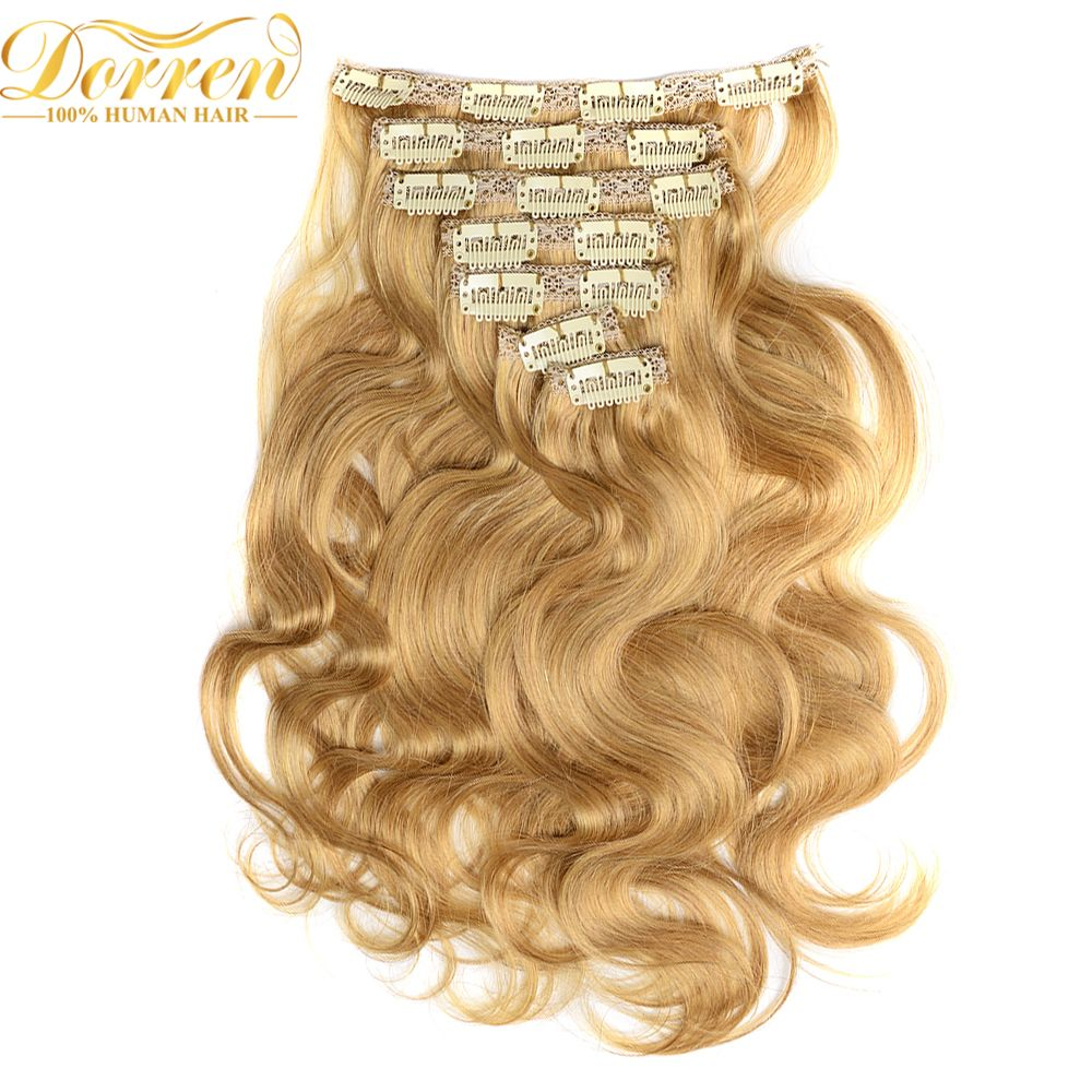 Doreen 200g Thicker Full Head Clip In Human Hair Extensions Double