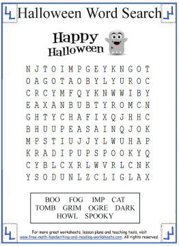 scare up some fun with these halloween word search activities worksheets designed for pre k through grade readers - Printable Halloween Activity Pages