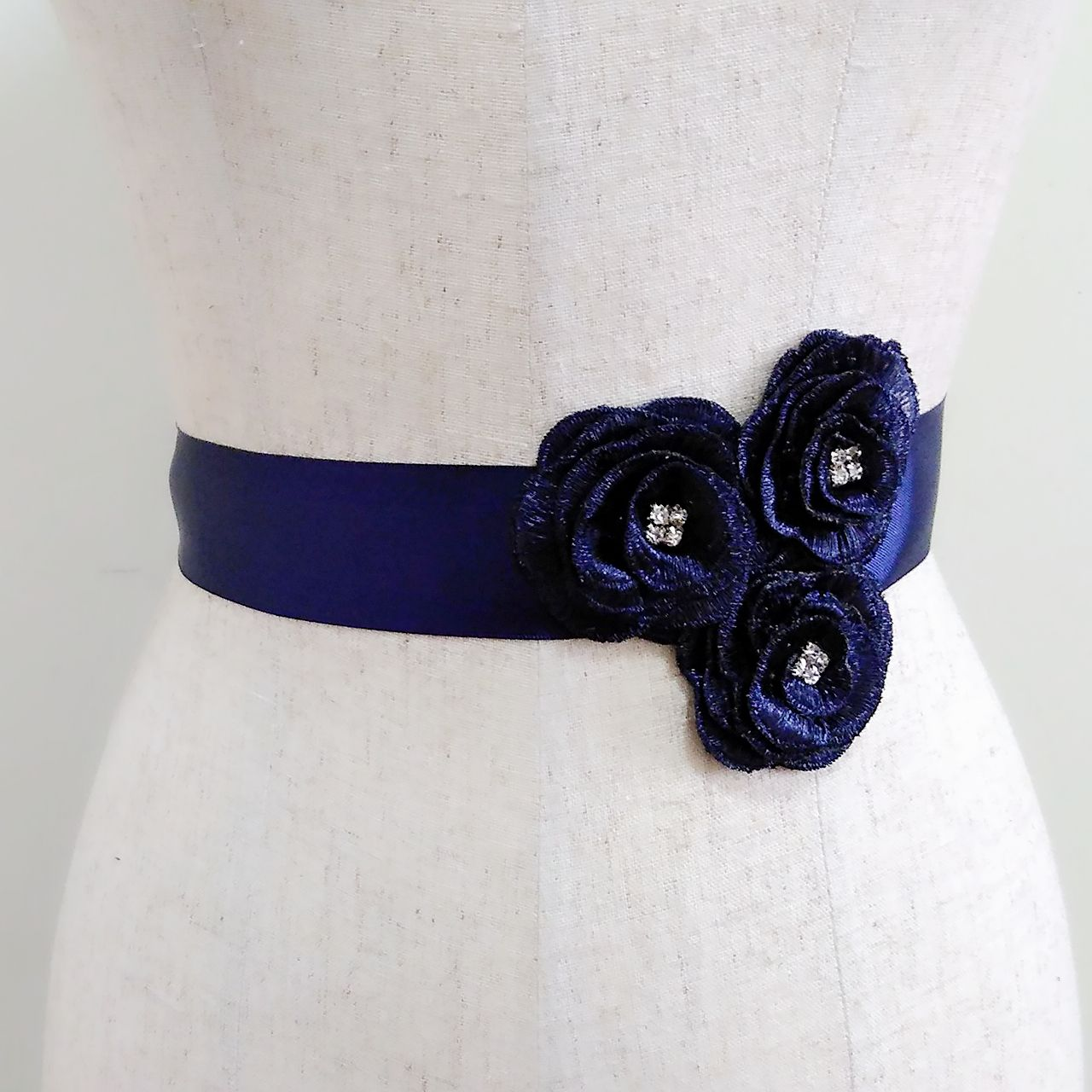 Navy blue flower sash, Rhinestone embroidery belt, Bridal sash ...