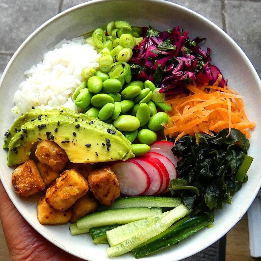 Katie Vegan Food on Instagram Loaded tofu poke bowl Crispy ...