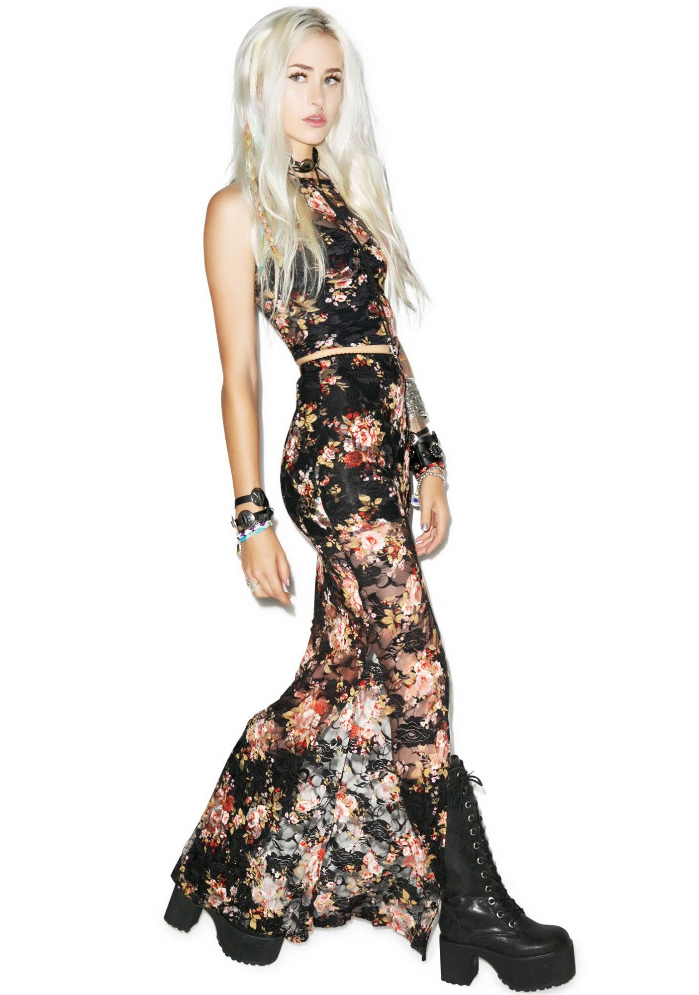 Peter paul and bloody maryus maxi skirt lip service emo goth and