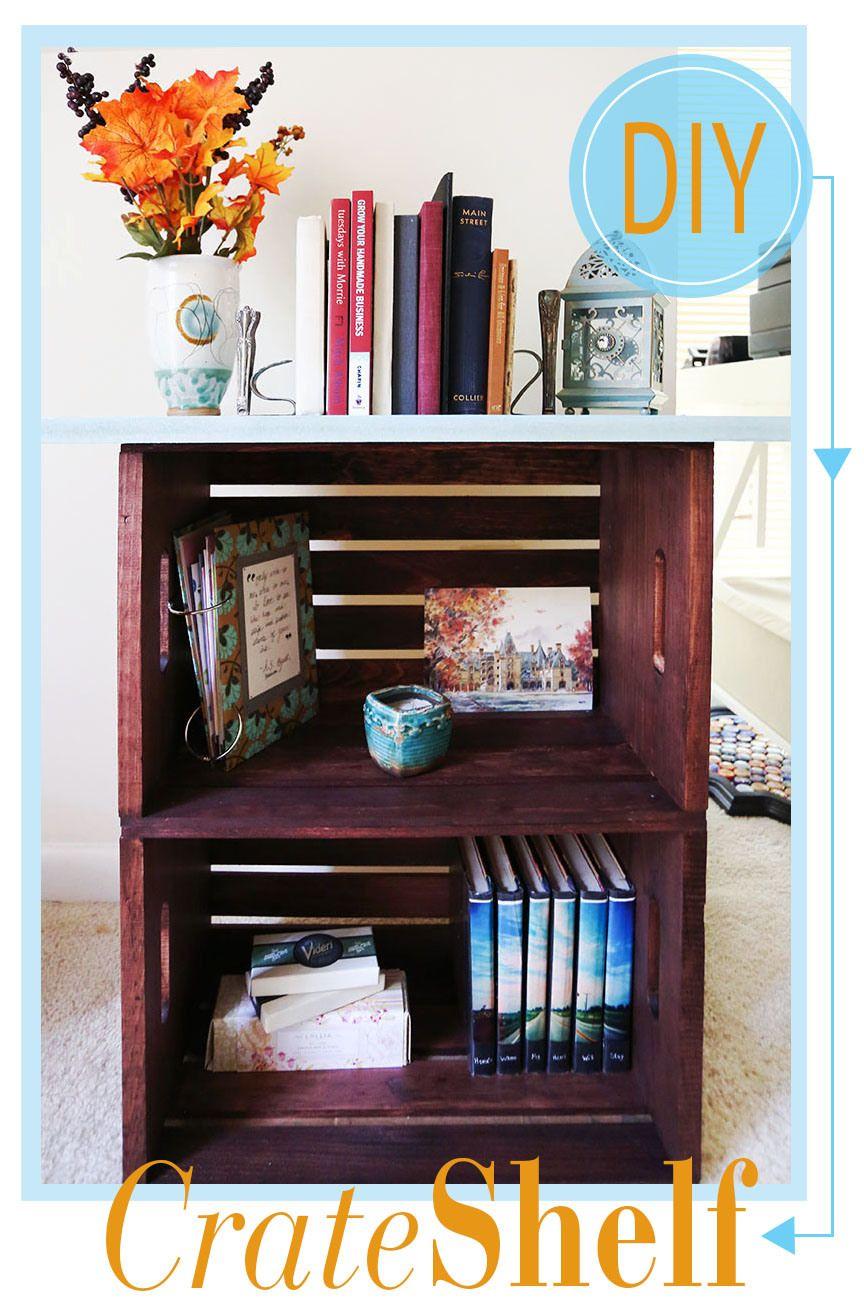 diy crate bookshelf nifty crate bookshelf diy furniture home rh pinterest com