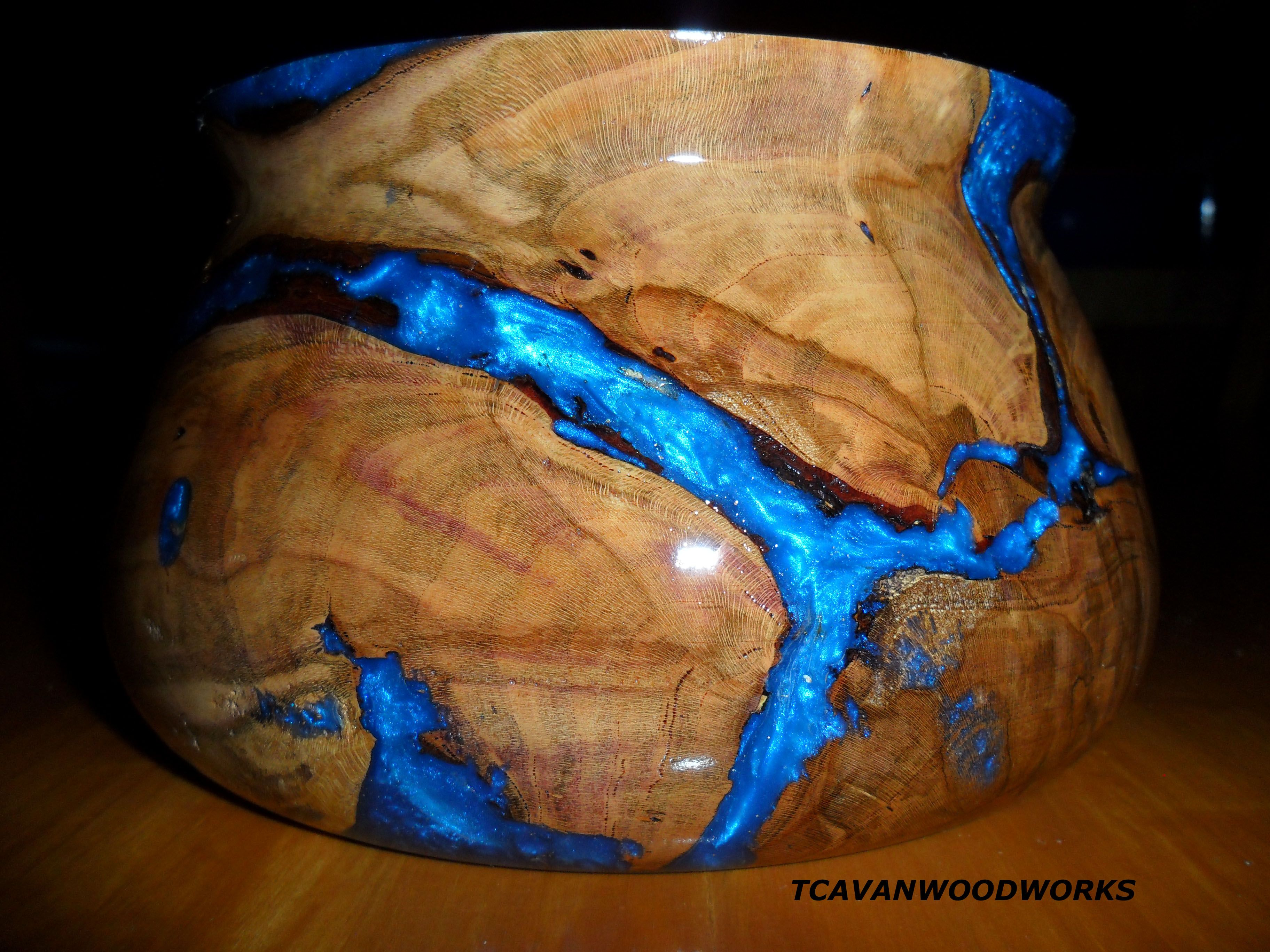 modern wood bowl, unique decor, blue bowl, woodturning artist http ... for Epoxy Resin Wood Art  70ref