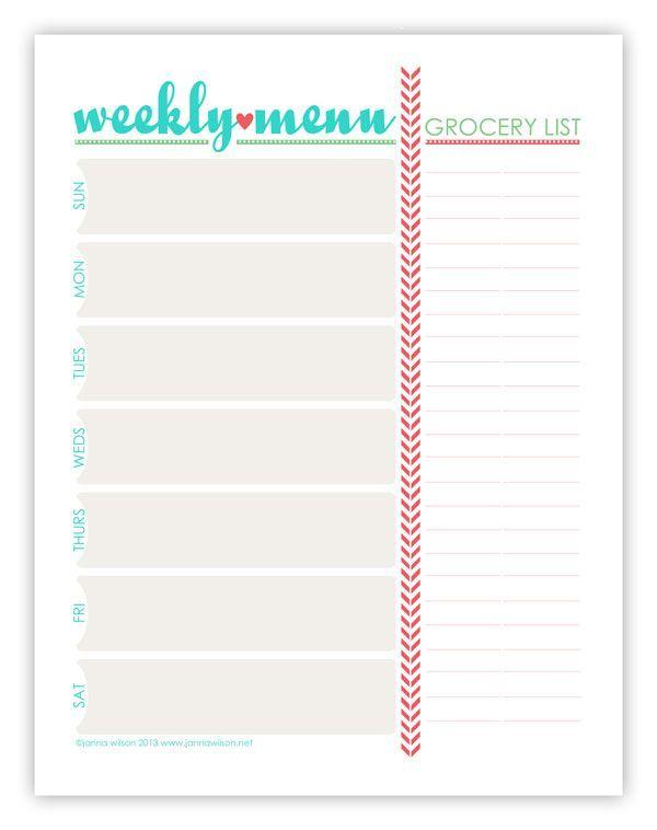 printable weekly menu planner with grocery list