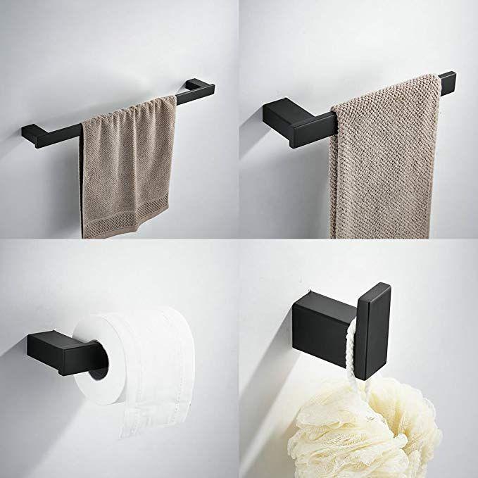 Kelelife, set accessori da bagno, 4 pezzi, con barra porta