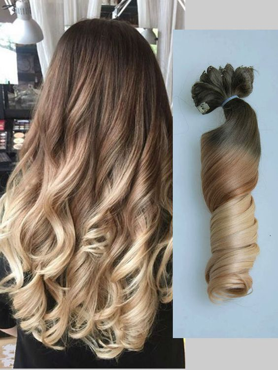 Full Head Dip Dye Clip In Hair Extensions Ombre Chocolate Brown To