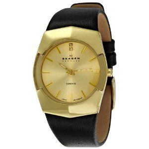 Gold watch with leather band $77.95