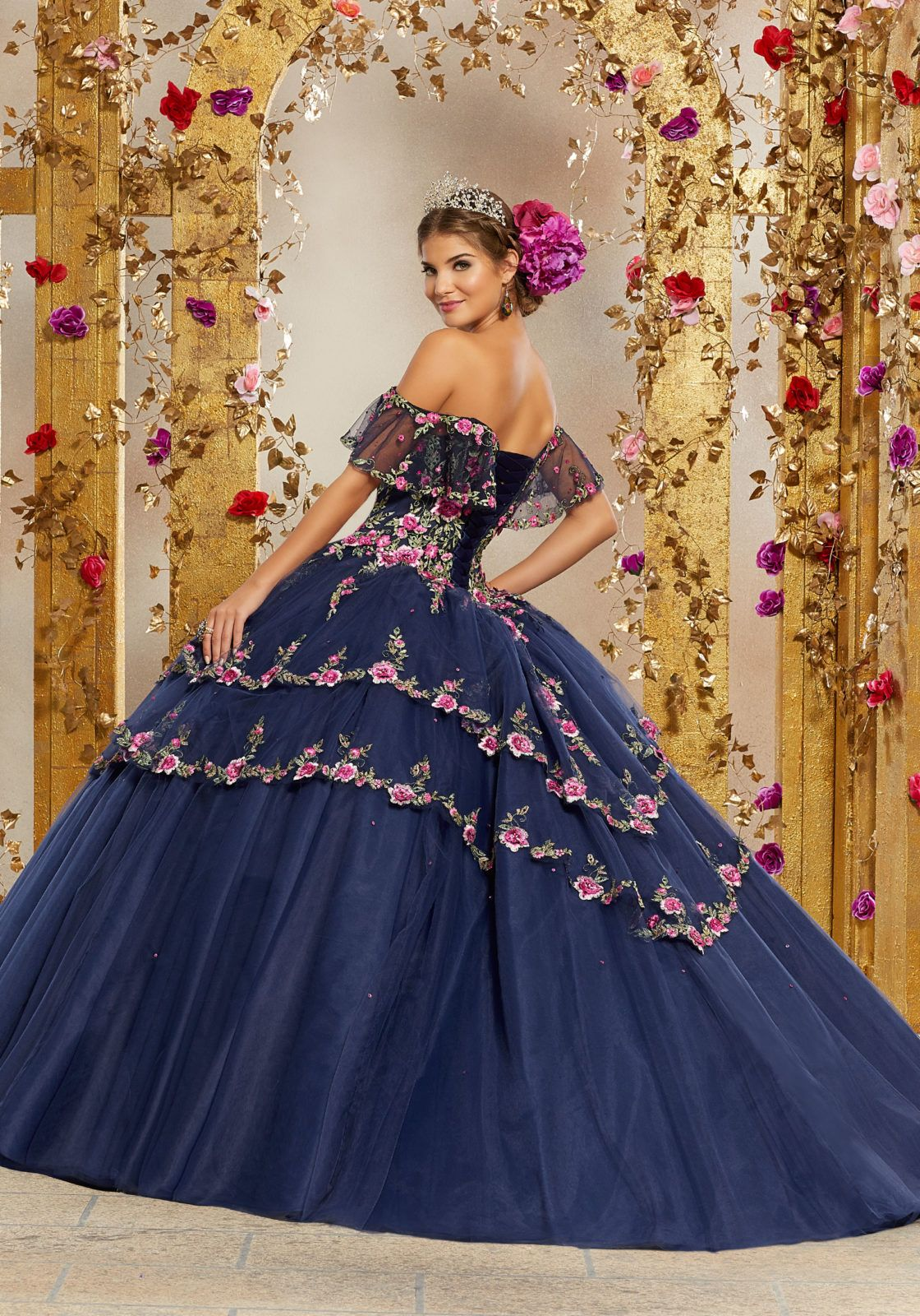 bbf6fccfc STYLE  34004 Glamorous Quinceañera Dress Featuring an Off the Shoulder  Flounced Neckline and Full Tiered Skirt Edged in Embroidery. Matching Stole  Included.