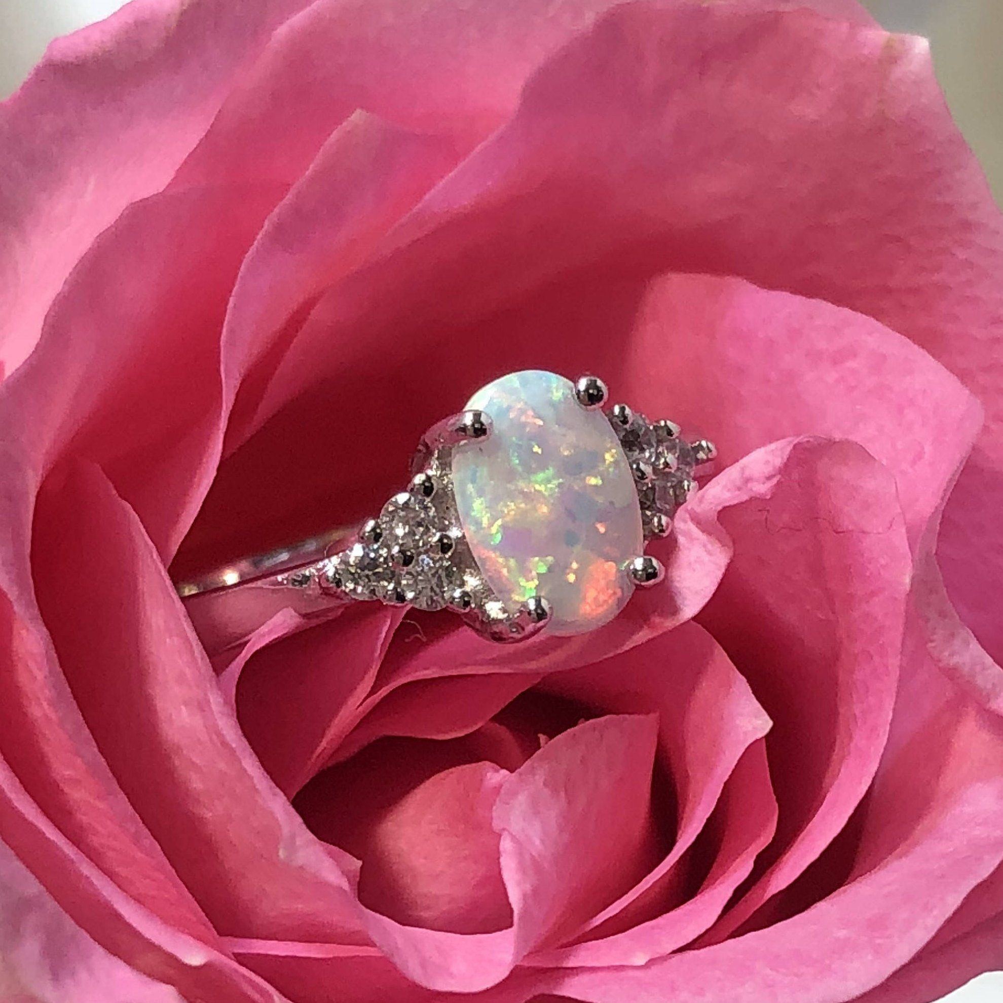 Opal Engagement Ring | White lab, Opal engagement rings and Free gifts