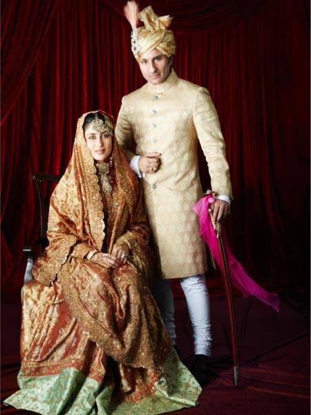 Kareena Kapoor With Husband Saif Ali Khan In A Heirloom Ritu Kumar Sharara First Originally Worn By H Bollywood Bridal Kareena Kapoor Wedding Bollywood Wedding