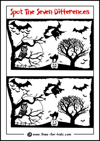 halloween spot the difference preview image - Halloween Activity Sheets