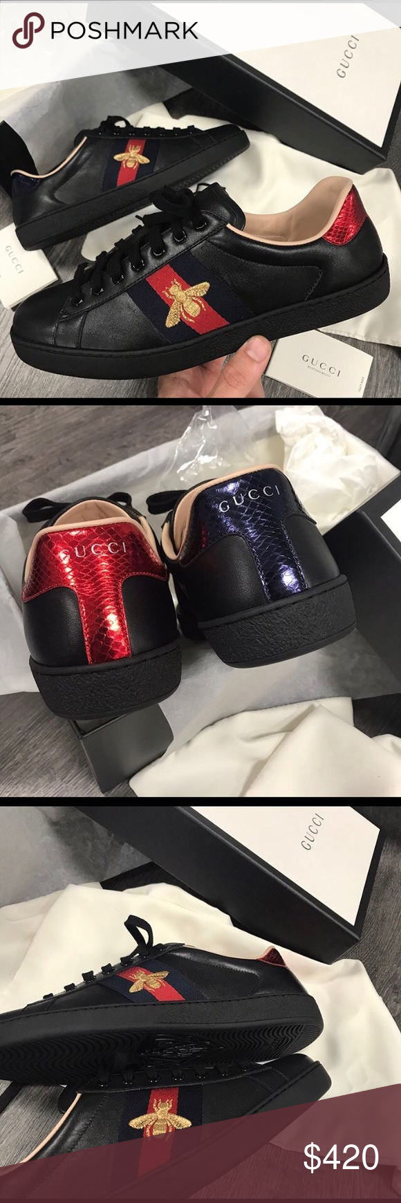 9ce3faf06d5 ⚫ 🇧🇬🐝Gucci Ace Bee🐝Sneakers Black 🐝🇧🇬🐝🇧🇬 100%AUTHENTIC ...