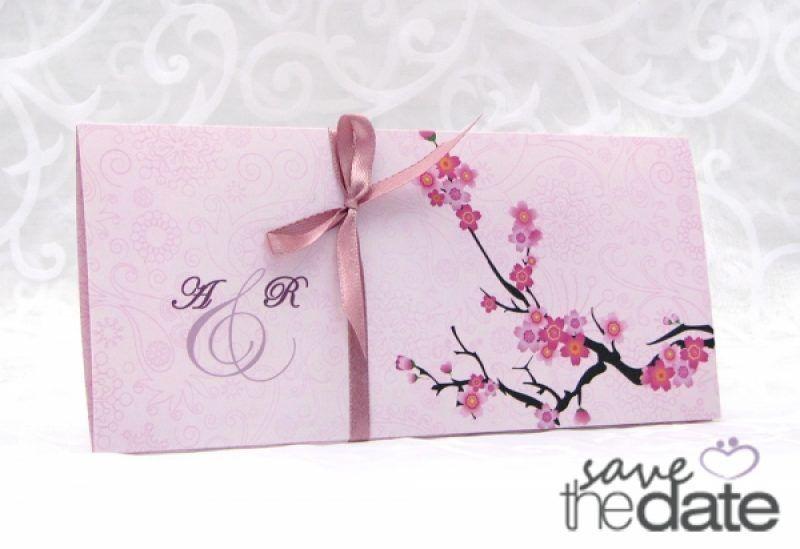 Invitatie De Nunta Handmade Roz Cu Flori De Cires Cherry Blossom
