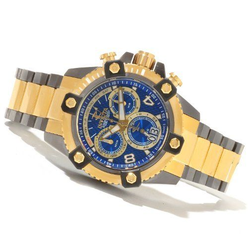 Invicta Men's 13678 Arsenal Chronograph Blue Two Tone Stainless Steel. Swiss quartz movement. Flame-fusion crystal; gunmetal ion-plated stainless steel case and bracelet with 18k rose gold ion-plated stainless steel center links. Chronograph functions with 60 second, 30 minute and 10 subdials; day display at 12:00 and date window between at 5:00. Blue dial with gold tone and white hands and Arabic numerals; luminous; 18k rose gold ion-plated stainless steel bezel with black accent; 18k rose…