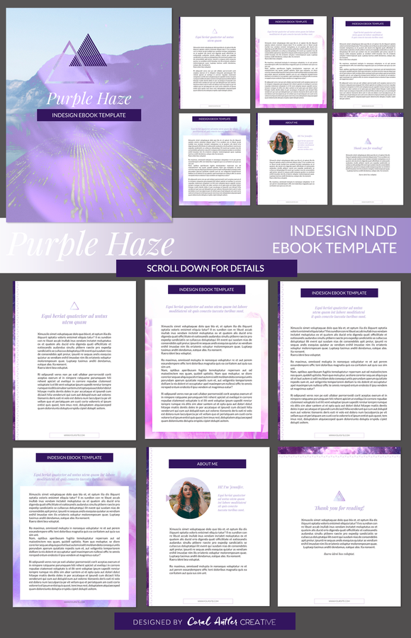 Purple Haze Indesign Ebook Template By Coral Antler Creative On