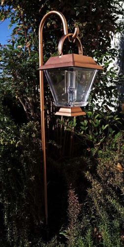 6 Outdoor Garden Bronze Shepherds Hook Hanging Solar Landscape Lantern Light