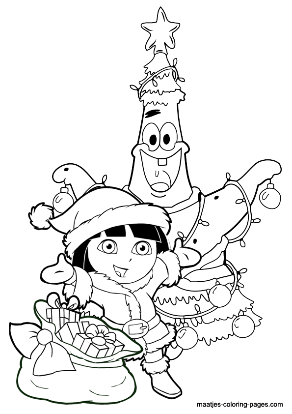 Patrick Star as christmas tree and Dora the Explorer as Santa