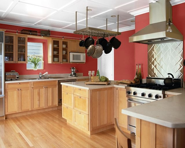 Rustic red painted kitchen cabinets images favorite for Grey kitchen cabinets with red walls