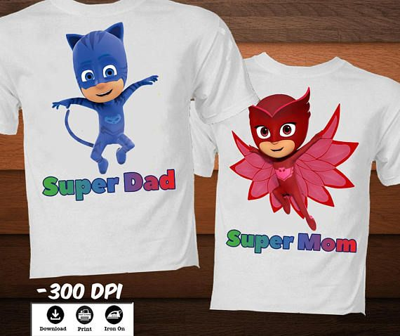 34f606ced4d SET Digital image-Pj Masks emblem Family T-shirt! Iron on transfer t-Shirt  is the perfect decor for your party or any other day!Great for family  bonding for ...