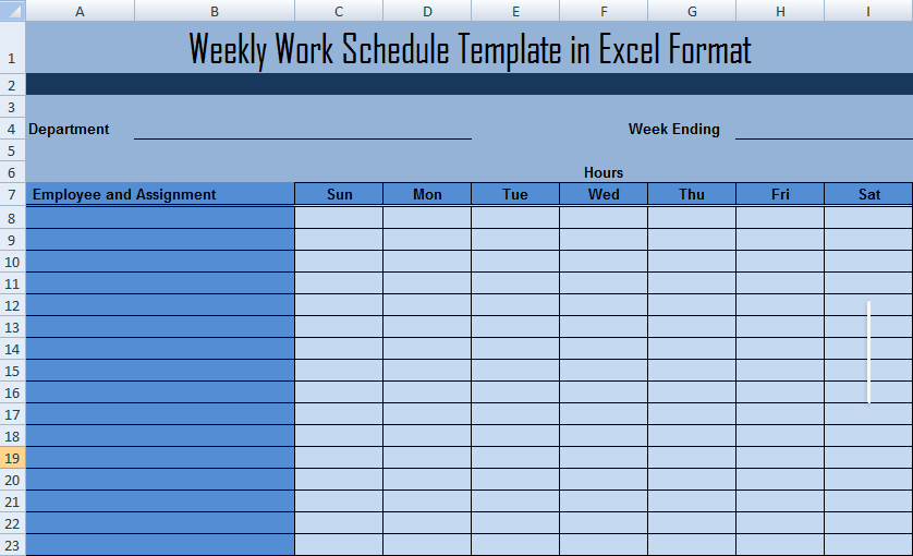 weekly work schedule template in excel format project management