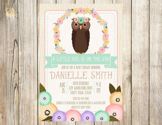 Little Boho Owl Baby Shower Invitation by EmmyJosParties on Etsy