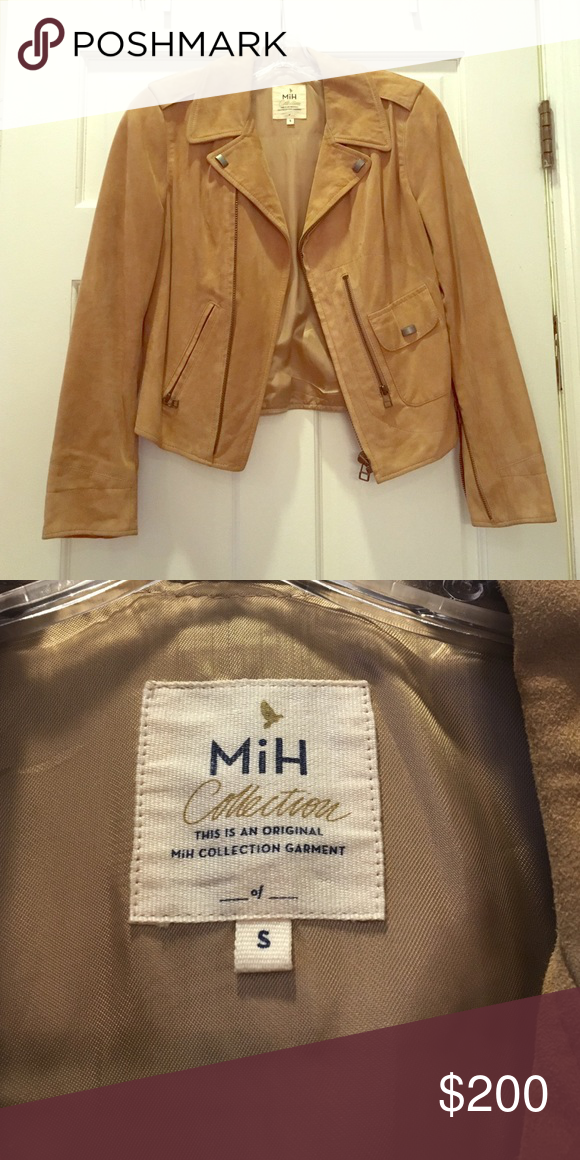 MiH Jeans Collection suede jacket Fitted suede camel colored jacket. Size small. Gunmetal zip details. Mih Jeans Jackets & Coats Blazers