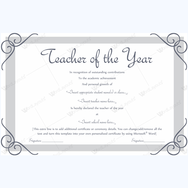 Teacher Of The Year 12 Teacher Of The Year Award Certificate