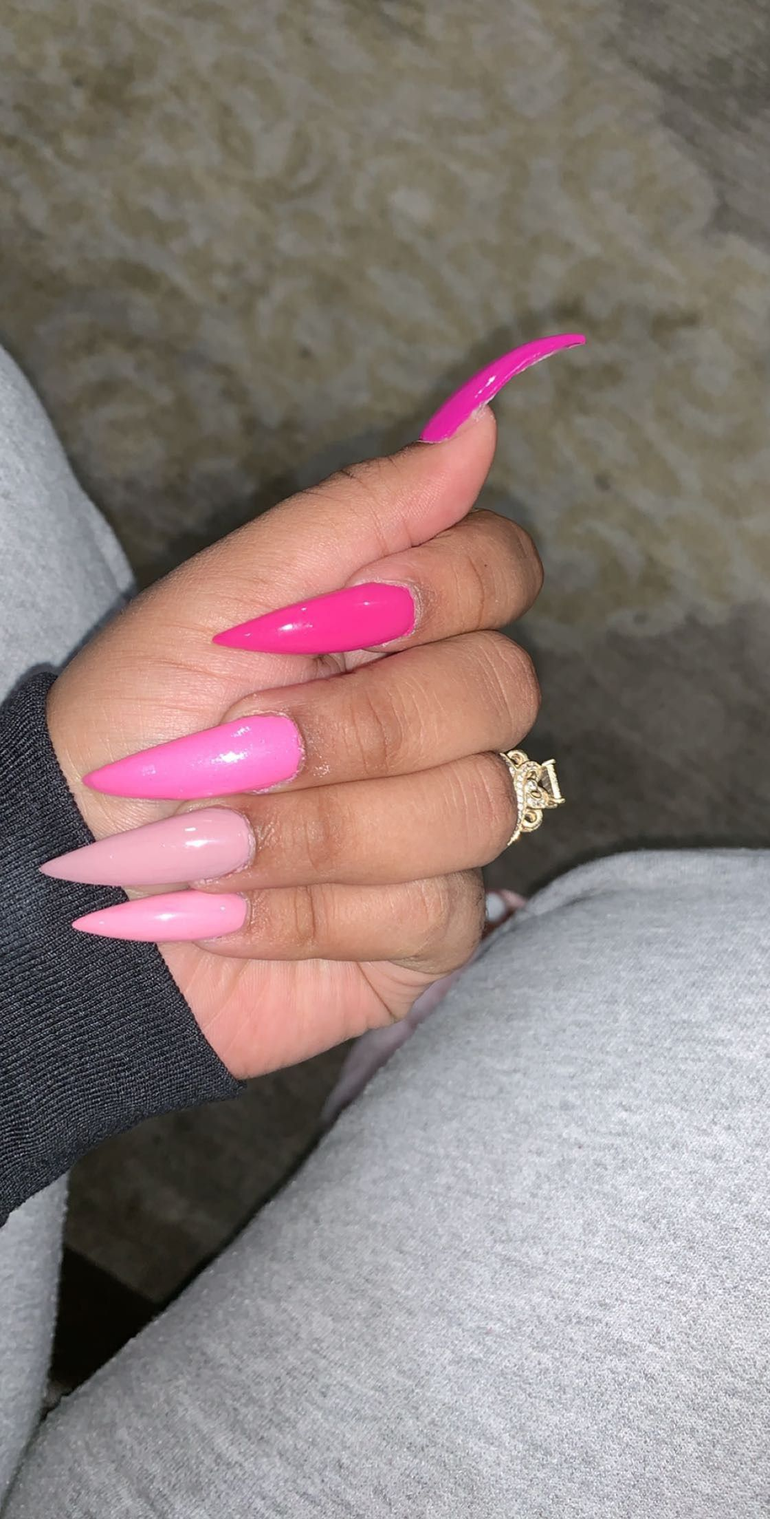 Acrylic Nails Long Stiletto Pink Brebraxkin On Insta With