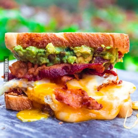 2 Sunny Side Up Eggs With Tilamook Cheese Bacon And Guacamole On Toasted Sourdough Food Brunch Dishes Breakfast Brunch
