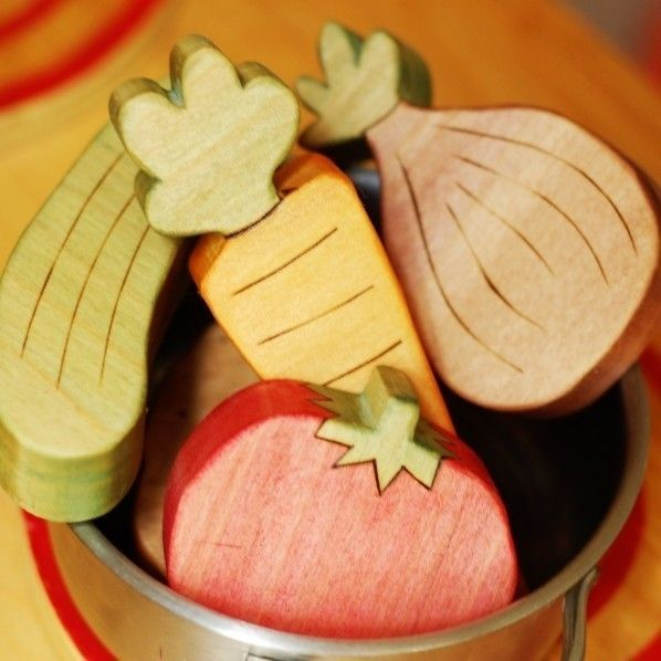 Gorgeous Handmade Wooden Vegetable Set For Extra Play Kitchen Fun.