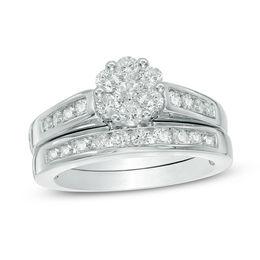 1 Ct T W Diamond Flower Bridal Set In 10k White Gold Zales In 2020 White Gold Diamond Rings Diamond Bridal Sets Wedding Ring Zales