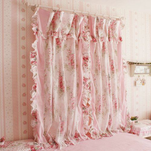 Korean Style Rustic Vintage Pink Rose Curtain Bedroom Floral Windowtreatment Two Panels Http Www Shabby Chic Decor Diy Shabby Chic Curtains Curtains Bedroom