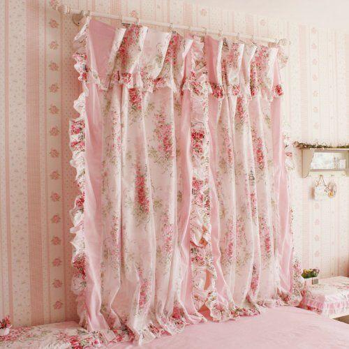 Korean Style Rustic Vintage Pink Rose Curtain Bedroom Floral