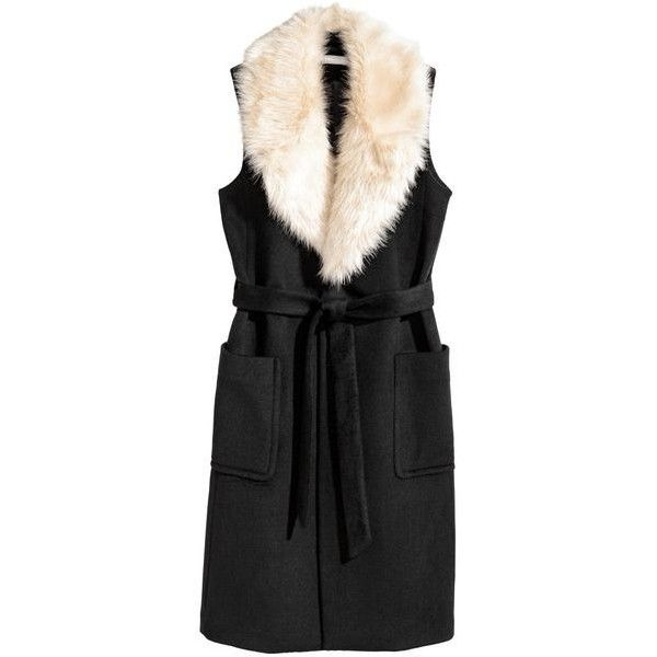 vest black H&M Long Wool-blend with Cream Fur Trim Collar ❤ liked on Polyvore featuring outerwear, vests, long waistcoat, vest waistcoat, long vest, h&m vest and collared vest