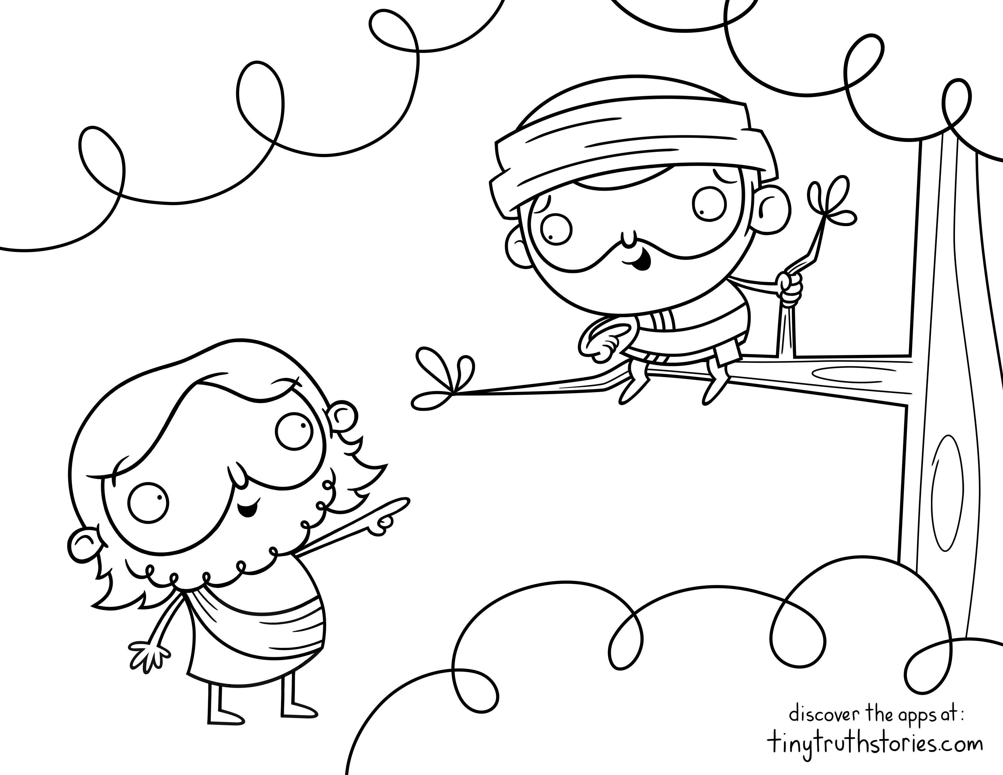 Colouring page: Jesus and Zacchaeus | Bible Colouring Pages - tiny ...