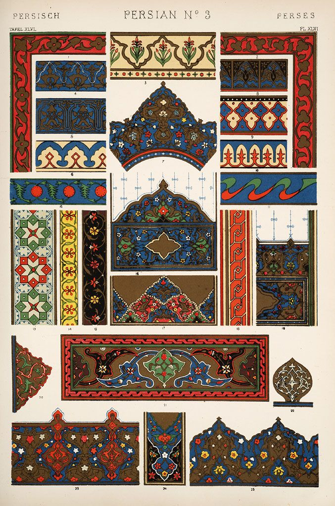 Decorative arts the grammar of ornament persian for Tapiz persa