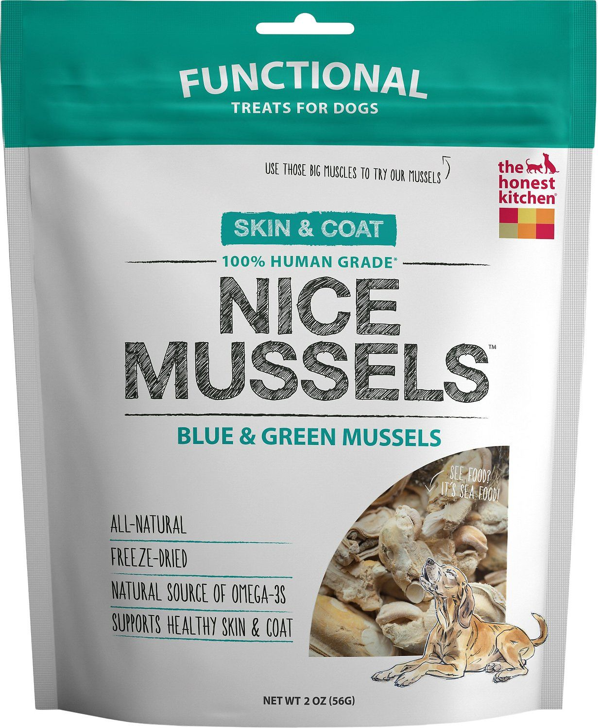 The Honest Kitchen Nice Mussels Blue & Green Mussels Dog Treats ...
