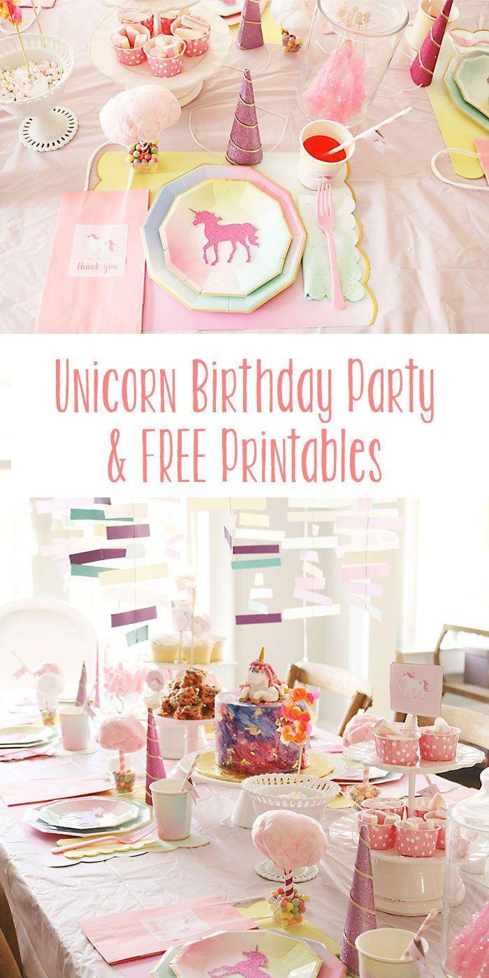 7th birthday party ideas for girl unicorn birthday party free printables darling darleen audrey 4bday pinterest birthday