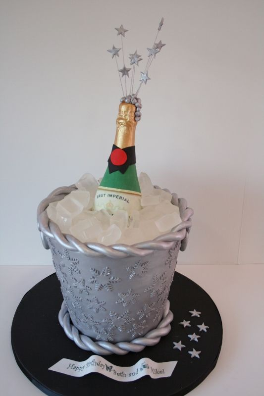 New Year Eve Champange Bottle And Bucket Birthday Cake