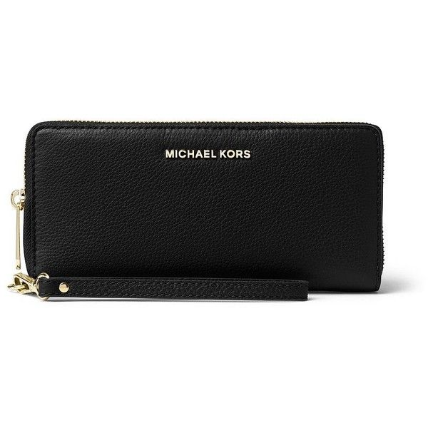 MICHAEL MICHAEL KORS Jet Set Travel Leather Continental Wristlet (530 RON) ❤ liked on Polyvore featuring bags, handbags, clutches, apparel & accessories, black, real leather handbags, genuine leather purse, wristlet clutches, leather purses and wristlet purse