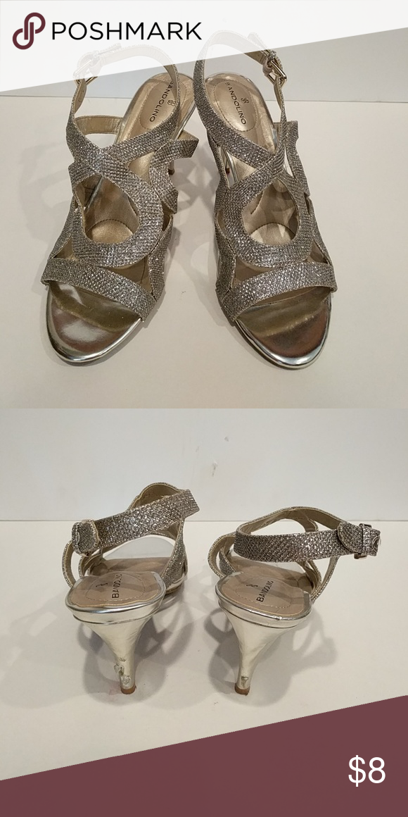 Bandolino silver sparkle Heels Silver, spares, open toe, buckle back, worn once, scuffed heels Bandolino Shoes Heels
