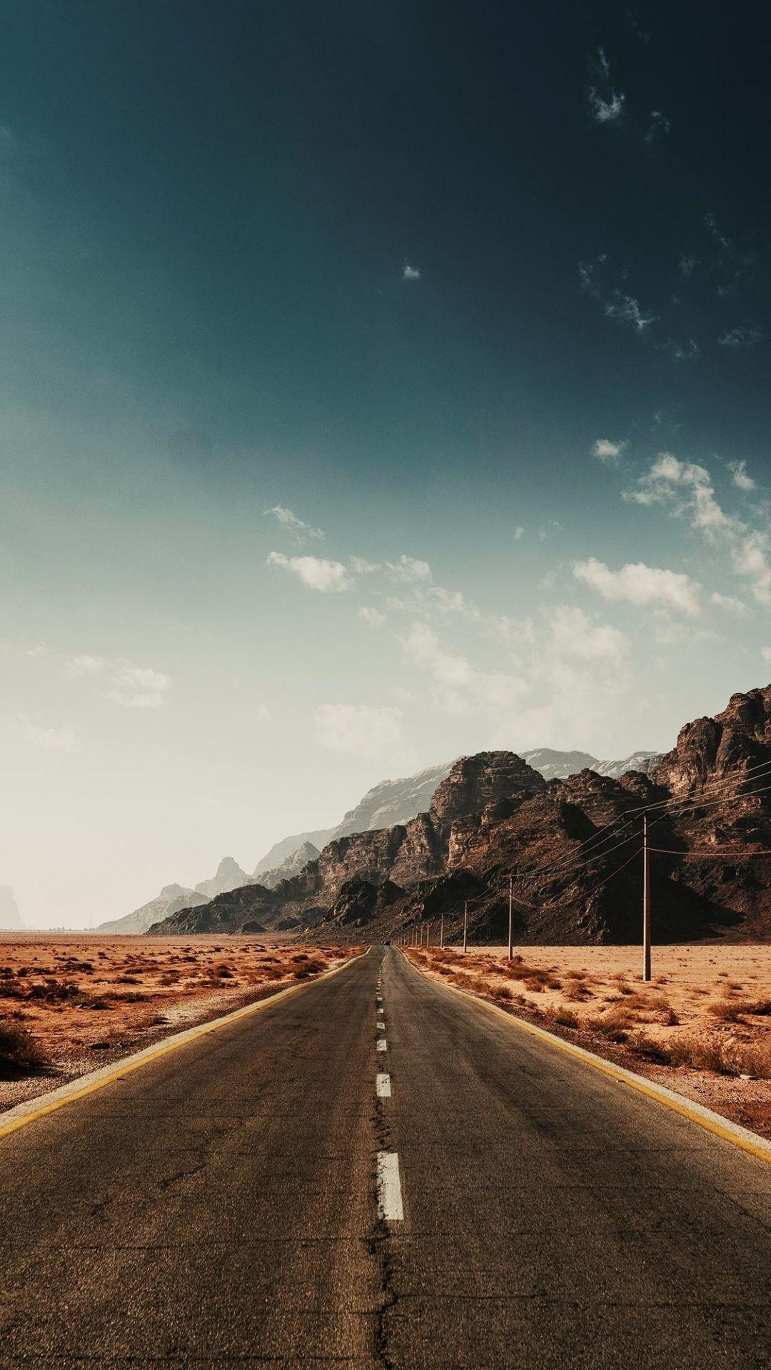Landscape, highway, lone road, sky, 1080x1920 wallpaper