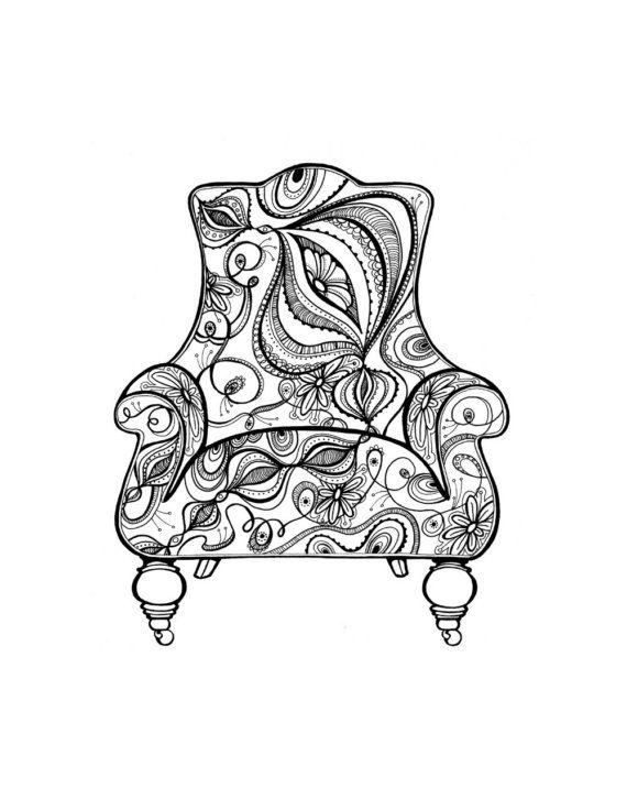 Onion Chair Doodle Art Art Coloring Pages