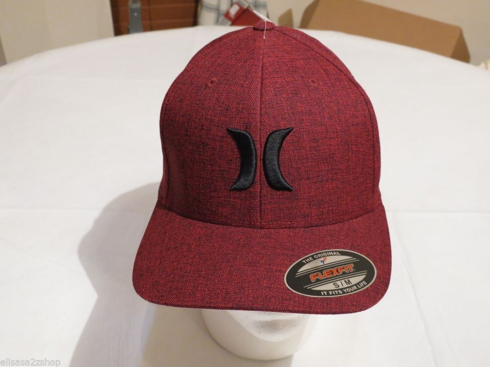 65e7527182 Hurley logo hat cap S/M flexfit red black surf skate RARE NEW Men's  burgundy #Hurley #hatcap