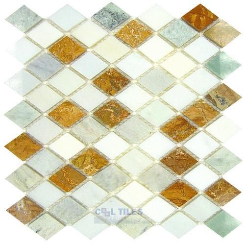 Clear view mosaic tile marble and travertine mosaics diamond thassos white giallo real ming green  mesh backed sheet also euro glass kitchen light polished