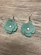 Photo of Turquoise leather earrings real leather earrings